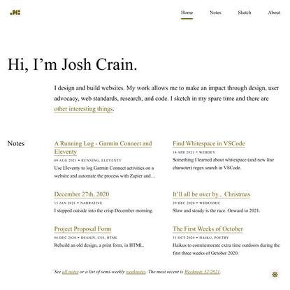 Josh Crain - Product designer, developer, artist in training