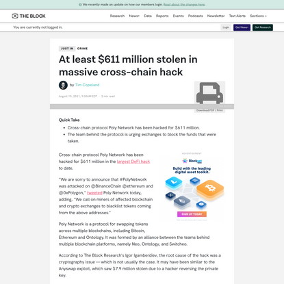 At least $611 million stolen in massive cross-chain hack