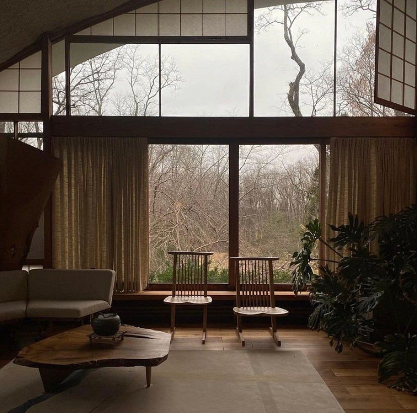 inside one of George Nakashima's properties in New Hope, PA