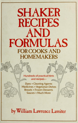 Shaker Recipes for Cooks and Homemakers