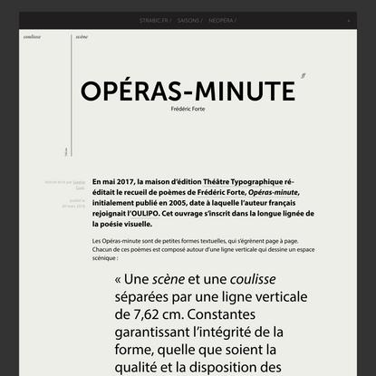 Opéras-minute Frédéric Forte