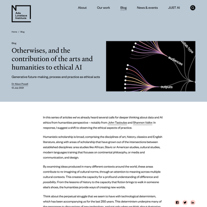 Otherwises, and the contribution of the arts and humanities to ethical AI