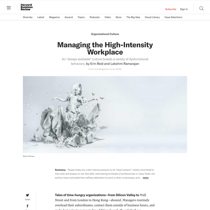 Managing the High-Intensity Workplace