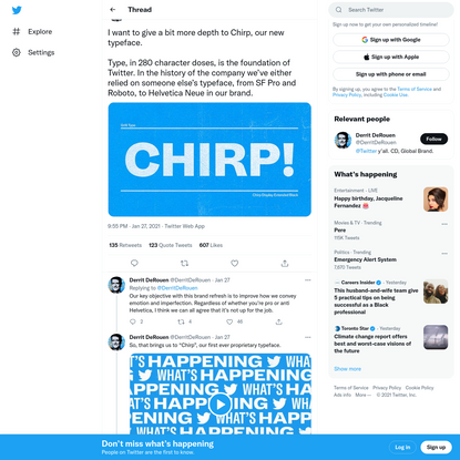 """Derrit DeRouen on Twitter: """"I want to give a bit more depth to Chirp, our new typeface.Type, in 280 character doses, is the ..."""