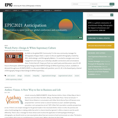 EPIC - Advancing the Value of Ethnography in Industry