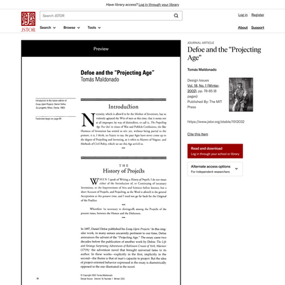 """Defoe and the """"Projecting Age"""" on JSTOR"""
