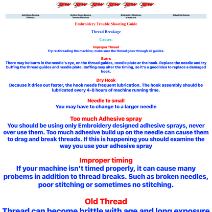 Embroidery Trouble Shooting Page