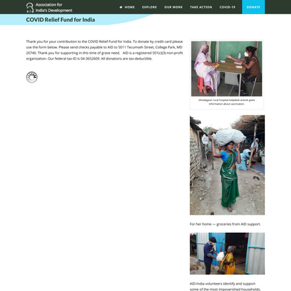 Donate to Covid Relief Fund for India