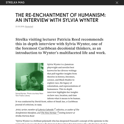 The Re-enchantment of Humanism: An Interview with Sylvia Wynter