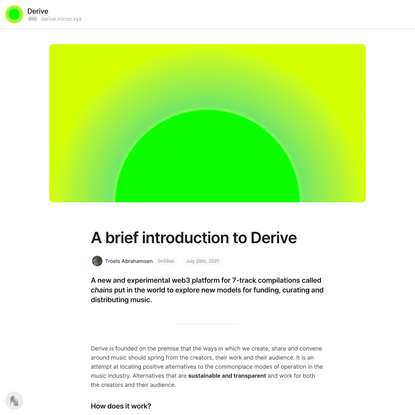 A brief introduction to Derive — Mirror