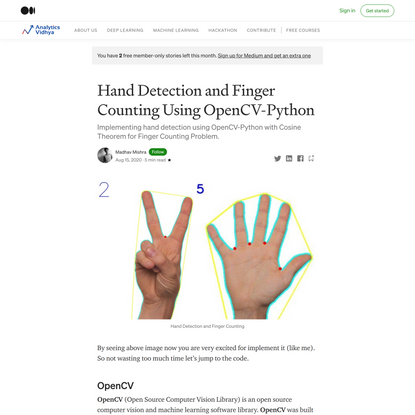 Hand Detection and Finger Counting Using OpenCV-Python