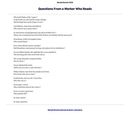 Questions From a Worker Who Reads, Bertolt Brecht 1935