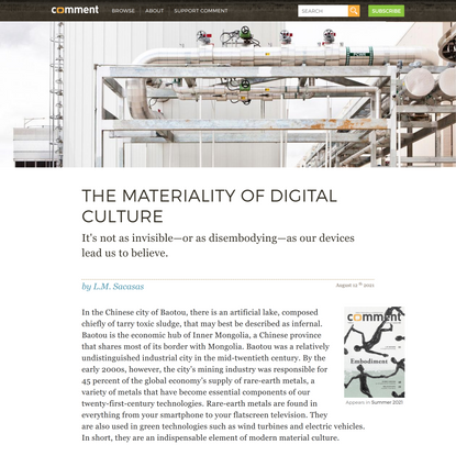 The Materiality of Digital Culture   Comment Magazine