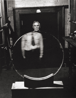 Dr. Robert Wood Stands Behind a Mosaic Diffraction Grating, Photo by Andreas Feininger, 1944