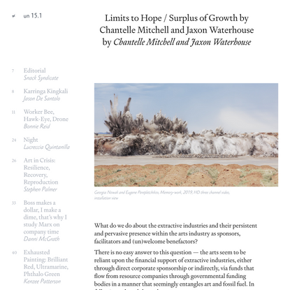 Limits to Hope / Surplus of Growth by Chantelle Mitchell and Jaxon Waterhouse – un