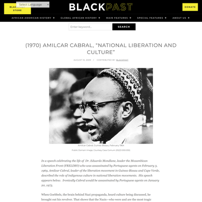 """(1970) Amilcar Cabral, """"National Liberation and Culture"""" •"""