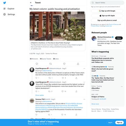 "Michael Kimmelman on Twitter: ""My latest column: public housing and privatization https://t.co/LUhY2Se6sP / Twitter"""