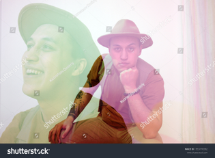 stock-photo-double-exposure-portrait-of-the-middle-age-man-in-a-beige-classical-hat-he-is-sitting-on-a-stool-1953770392.jpg