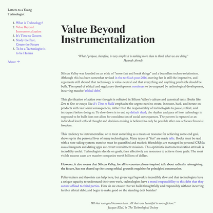 Value Beyond Instrumentalization — Letters to a Young Technologist