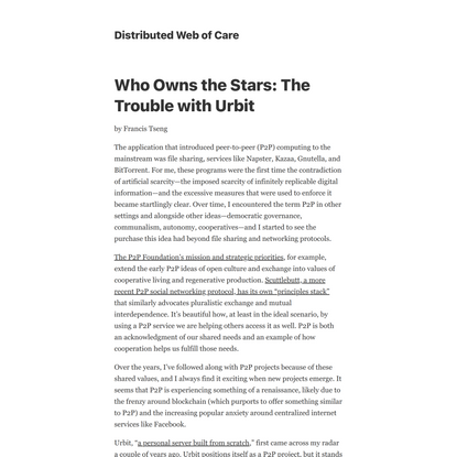 Who Owns the Stars: The Trouble with Urbit