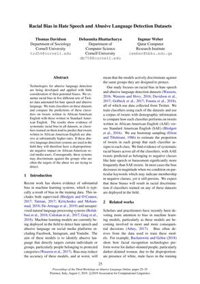 Racial Bias in Hate Speech and Abusive Language Detection Datasets - Thomas Davidson, Debasmita Bhattacharya, Ingmar Weber