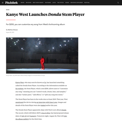 Kanye West Launches Donda Stem Player