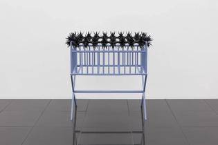 Dozie Kanu, Bhad (Their Newborn's Crib), 2019, 114 × 58 × 99 cm, powder coated steel, anti-climb raptor spikes