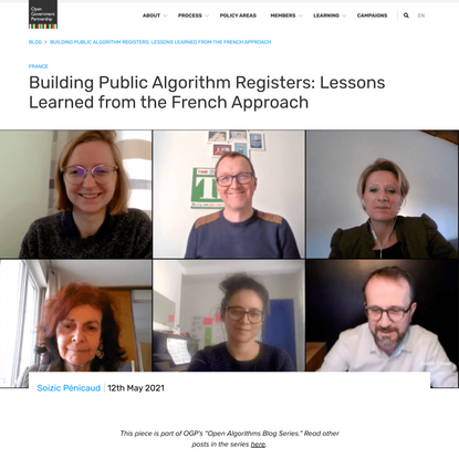 Building Public Algorithm Registers: Lessons Learned from the French Approach - Open Government Partnership