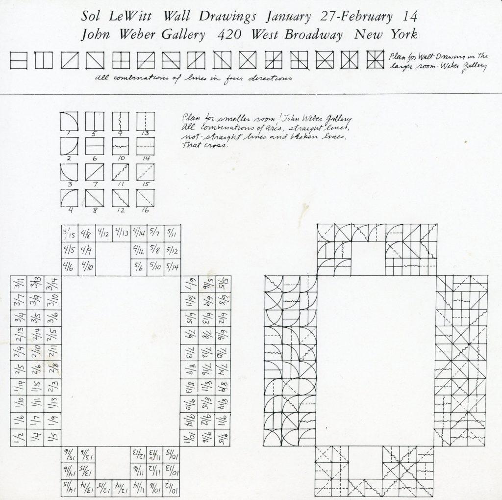 John Weber Gallery, Sol LeWitt, Wall Drawings, Card, 1974
