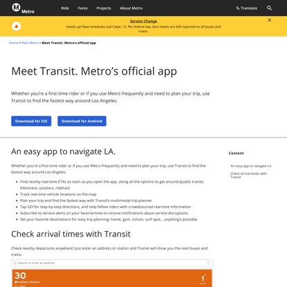 Meet Transit. Metro's official app - LA Metro