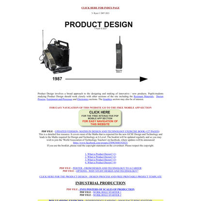 Product Design Index Page