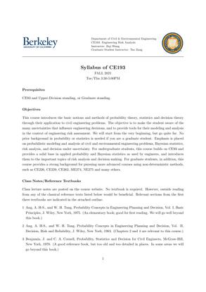 UC Berkeley CE193: Engineering Risk Analysis