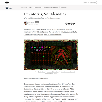 Inventories, Not Identities. Why multisigs are the future of online… | by Kei Kreutler | Gnosis