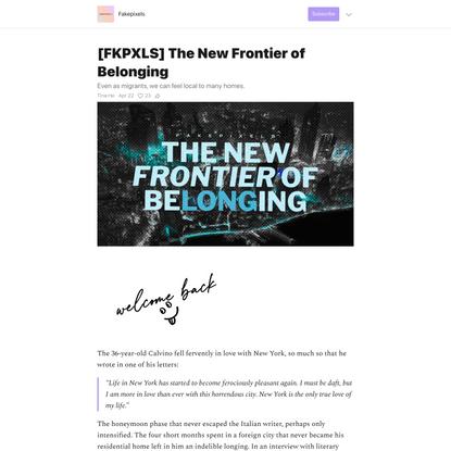 [FKPXLS] The New Frontier of Belonging