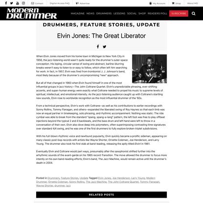 Elvin Jones: The Great Liberator | Modern Drummer Magazine
