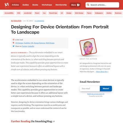 Designing For Device Orientation: From Portrait To Landscape — Smashing Magazine