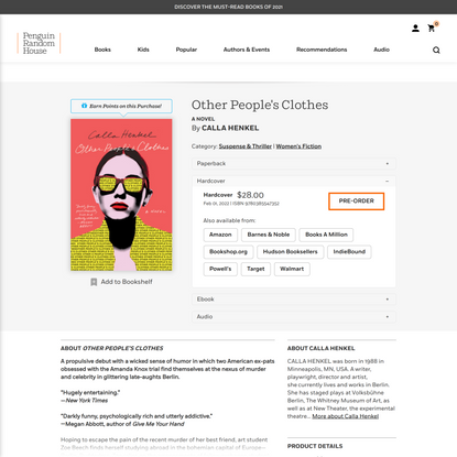 Other People's Clothes by Calla Henkel: 9780385547352   PenguinRandomHouse.com: Books