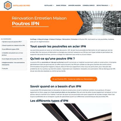 Poutre IPN : tout savoir sur ces poutrelles, matières, pose, prix et réglementation - Outillage de Pro
