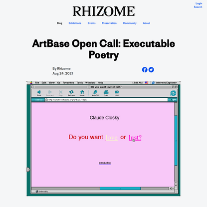 ArtBase Open Call: Executable Poetry