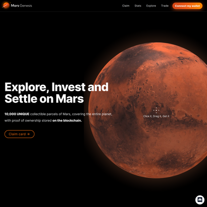 Mars Genesis - 10,000 parcels of Mars stored on the blockchain