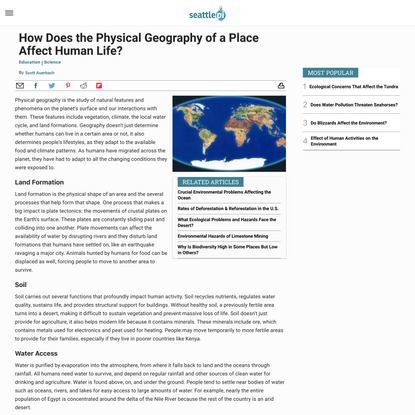 How Does the Physical Geography of a Place Affect Human Life?