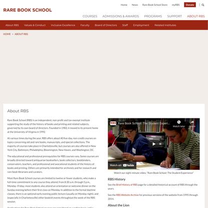 About RBS   Rare Book School