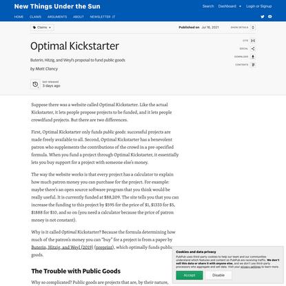 Optimal Kickstarter · New Things Under the Sun