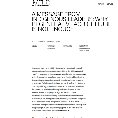 A Message from Indigenous Leaders: Why Regenerative Agriculture is Not Enough - MOLD :: Designing the Future of Food