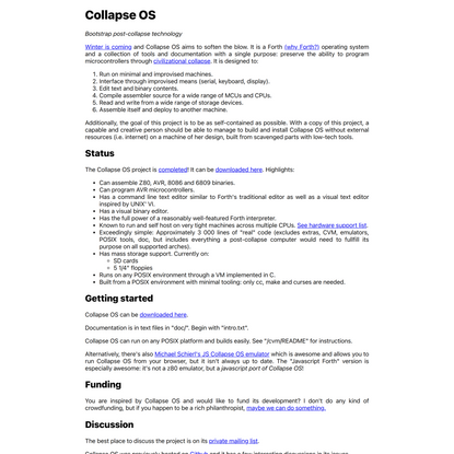 Collapse OS — Bootstrap post-collapse technology