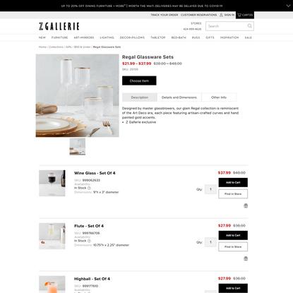 Regal Glassware Sets | Zgallerie