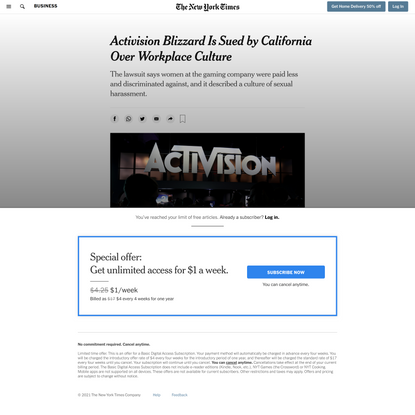 Activision Blizzard Is Sued by California Over Workplace Culture