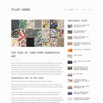 The Rise of Long-Form Generative Art — Tyler Hobbs