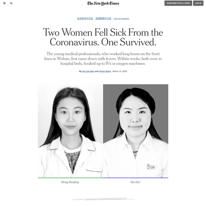 Two Women Fell Sick From the Coronavirus. One Survived. (Published 2020)