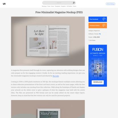 Free Minimalist Magazine Mockup (PSD)